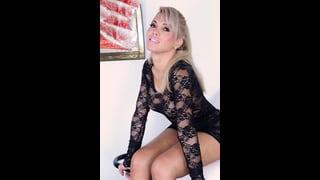 Milena Vendramine Con Un Sexy Abito Nero Di Pizzo