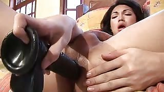 Sandy Lopes has fun with her sex toys