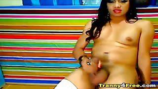 Trans mora si fa una sega davanti la webcam..