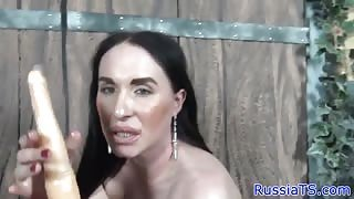 Long prick of Russian transsexual