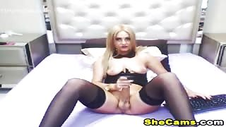 Falling transsexual tits on cam