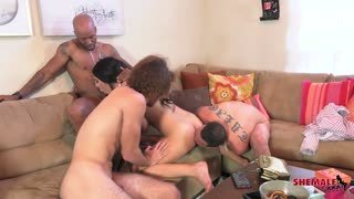 TS Chanel surrounded by 5 hard cocks