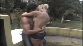 Outdoor sex with blonde shemale Cinthia