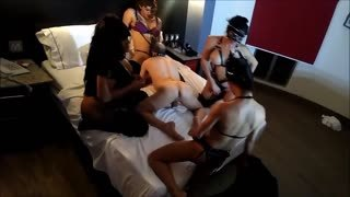 Gangbang with 4 shemale mistress part 2