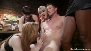 Submissive guy with 4 tranny gangbang